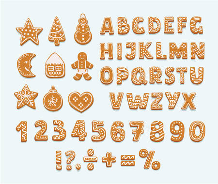 Christmas or New Year gingerbread cookies alphabet, arabic numbers and signs. Set of isolated figures covered icing-sugar on white background. Full english ABC. Vector cartoon illustration Ilustração