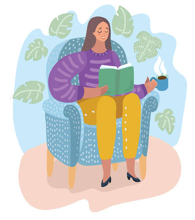 Young woman sitting on modern chair and relaxing. Female is reading book and drinking cup of coffee or tea. Vector cartoon illustration in modern concept
