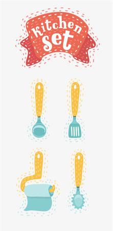 conjunto de utensilios de cocina dibujado a mano de cocina en el fondo blanco. ilustración vectorial de dibujos animados en concepto moderno