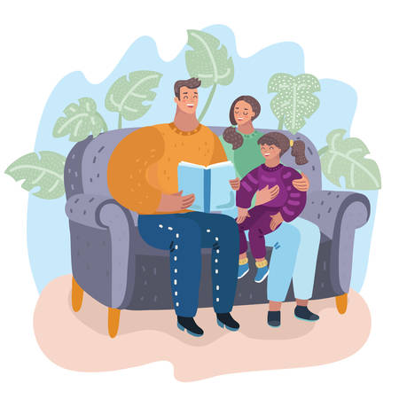 Family. Father, mother and daughter reading story book together sitting on the couch. Happy parents with their child. Vector cartoon illustration in modern concept