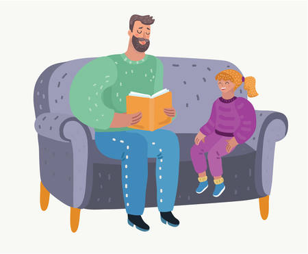 Cute little girl and her handsome parent are sitting on the couch. Parent reading a book to his child. Childs education. Vector cartoon illustration in modern concept Ilustração