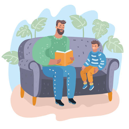 Father and son sitting on couch. Dad reading a book to his little boy. They sitting on sofa. Child's education. Fatherhood. Vector cartoon illustration in modern concept