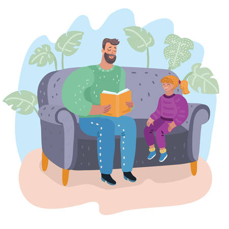 Daddy and daughter sitting on the couch. Father reading a book to his little girl. They sitting on sofa. Childs education. Vector cartoon illustration in modern concept 向量圖像