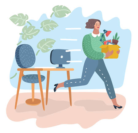 Young dismissed female worker running away from office. Female holding carton box with her belongings. Woman running away from her bad angry boss. Vector cartoon illustration in modern concept Standard-Bild - 109892068