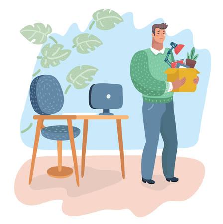 Vector cartoon illustratie van ontslag. Werkloosheid, crisis, werkloosheid en vermindering van banen door werknemers, verlies van banen, ontslagconcepten. Trieste man staat in de buurt van zijn werkplek en rekruteert nieuw personeel.