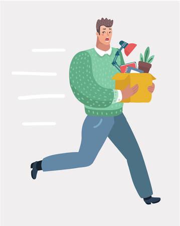 Oficinista joven huyendo de su mal jefe enojado. Hombre que sostiene la caja de cartón con sus pertenencias. Ilustración de dibujos animados de vector en concepto moderno