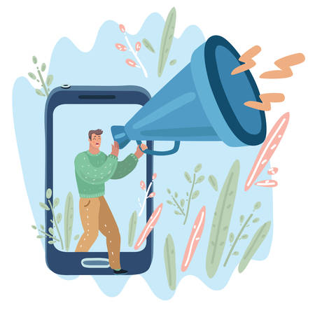 Vector cartoon illustration of business promotion, advertising, smm, web marketing call through the horn, online alerting. Man walk out from screen with big megaphone, giant loudspeaker.