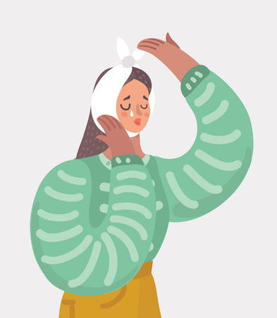 Vector cartoon illustration of Sad woman suffering and cry from a strong toothache. Patient touching cheeck and feel the pain. Female charater on white isolated background.