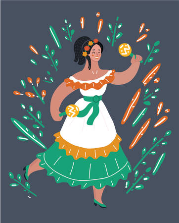 Vector cartoon illustration of Mexican woman in dress, dancing with maracas. Female character on dark background.
