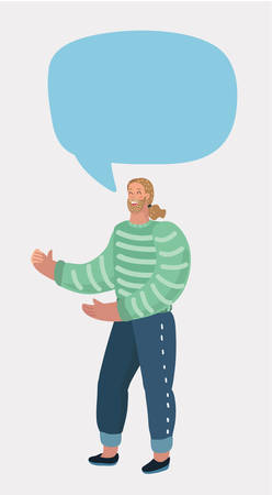 Vector cartoon illustratin of man Making Had Gestures and Talking. Bubble speech above him. Male charactes on white backround.