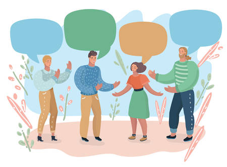 Ilustracja kreskówka wektor grupy ludzi i kolorowe dymki za nimi. Zespół, burza mózgów, rozmowa, współpracownicy, studenci, przyjaciele, gesty, rozmowa z innymi.