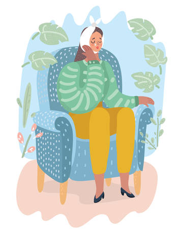 Vector cartoon illuatraiton of woman with sensitive teeth holding ice cream. Saffering girl cry sitting at chair.