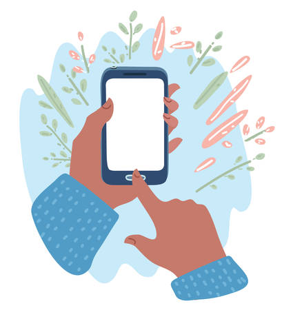 Vecor cartoon illustation of hand of man hold phone and touch phone, business concept. Blanck white screen. Template, banner with floral decorated. Ilustração Vetorial