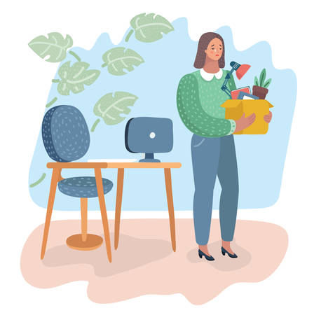 Vector cartoon illustration of fired Woman. Disappointed Businesswoman Holding Box with Belongings.
