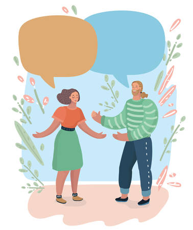 Two, couple talk to each other. Man and woman speaks. Conversation. Vector illustration with speech bubble. 2 white people. Vector illustration of human characters.