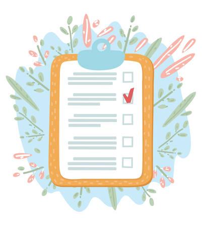 Vector cartoon illustration of Checklist. Clipboard checklist. Floral decoration object. Ilustração