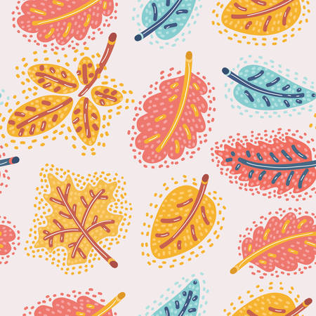 Vector cartoon illustration of autumn background. Falling leaves of different type of tree. Seamless pattern on white background. The fall.