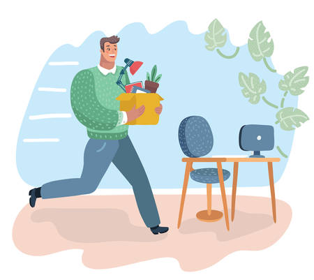 Vector cartoon illustration of successful smiling young man going to the new job with box. Man hurries to his new work place.
