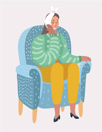 Sad woman suffering from a strong toothache and sitting in chair. Crying female touching her cheek and feel the pain. Bandage on the head. Vector cartoon illustration in modern concept Vector Illustration