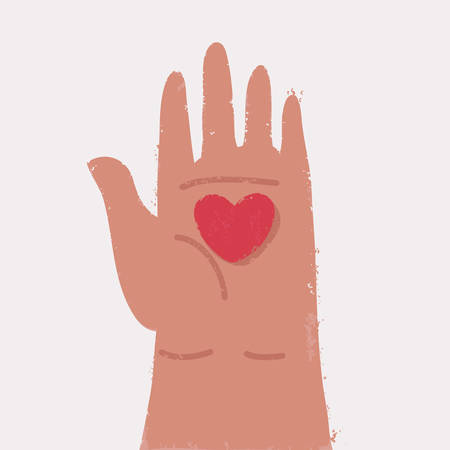 Heart in the palm isolated on white background. Symbol of love in human hand. Vector cartoon illustration in modern concept