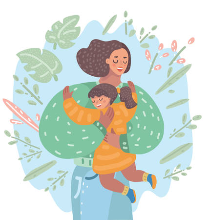 Vector cartoon illustration of Hug. Lovely mother are embracing a little girl, her daughter. Illustration