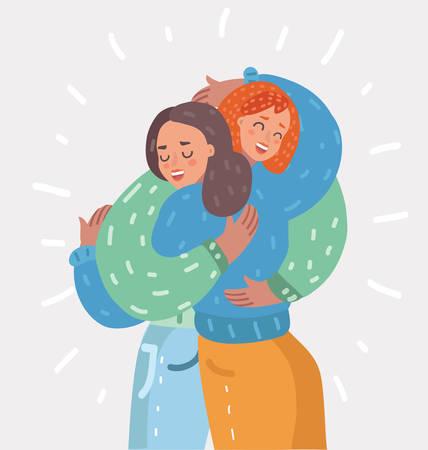 Dos niñas felices se abrazan. Hembras abrazados, riendo y emocionados. Amistad de mujer. Ilustración de dibujos animados de vector en concepto moderno
