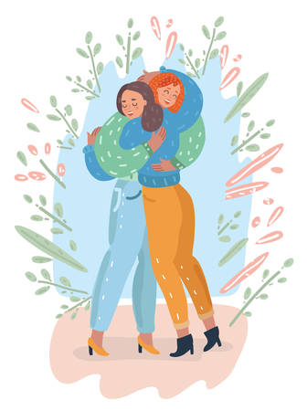 Vector cartoon illustration of mother and teenage daughter together give love hug each other. Happy family