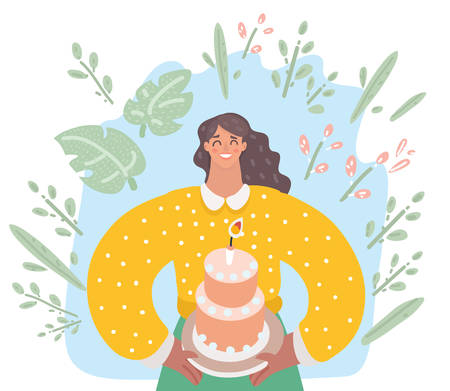 Vector cartoon illustration of woman is going to eat a huge celebration cake.