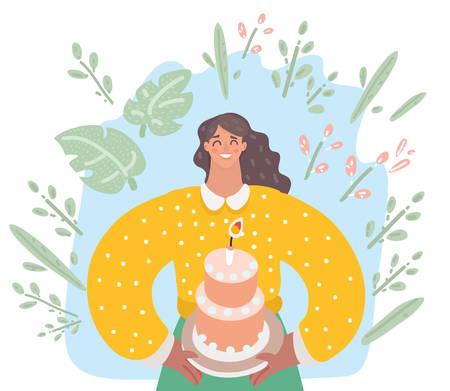 Vector cartoon illustration of woman is going to eat a huge celebration cake. Standard-Bild - 110215246