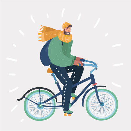Vector cartoon illustration of Man riding in bike. Funny character in winter autumn spring clothes. Cold seasons. Human in modern style on white background. Illustration