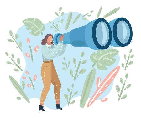 Happy tourist woman looking through big binoculars far ahead. Young lady is traveling with field glasses. Vector cartoon illustration in modern concept Ilustração