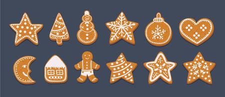Ilustración de dibujos animados de vector Conjunto de galletas de jengibre aislado sobre fondo oscuro. Árbol de Navidad decorativo, calcetín, muñeco de nieve, pelota, hombre, estrella, caramelo, casa Ilustración de vector