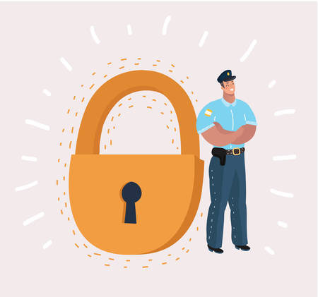 Man in security guard suit is standing near a giant padlock. Concept: business, security, personal data, GDPR, RGPD, general data protection, antivirus .Vector cartoon illustration in modern concept