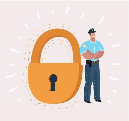 Un homme en tenue de garde de sécurité se tient près d'un cadenas géant. Concept : entreprise, sécurité, données personnelles, GDPR, RGPD, protection générale des données, antivirus. Illustration de dessin animé de vecteur dans un concept moderne