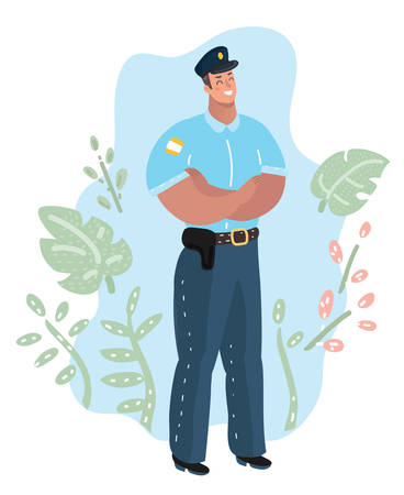 Vector cartoon illustration of handsome Policeman. Human character on isolated white background.