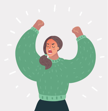 Vector cartoon illustration of Angry Woman up her hands and roar. Female rebel. Human character on white background.