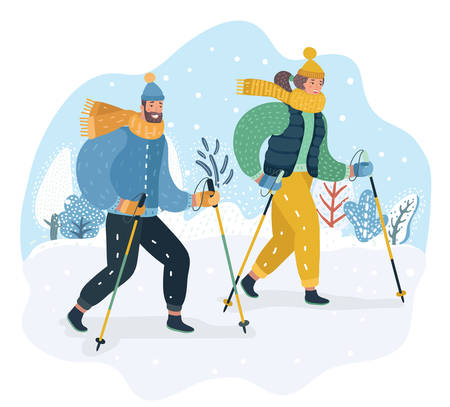 Happy couple of man and woman are practicing Nordic walking in the snow. Scandinavian walking in winter cold weather. Vector cartoon illustration in modern concept Illustration