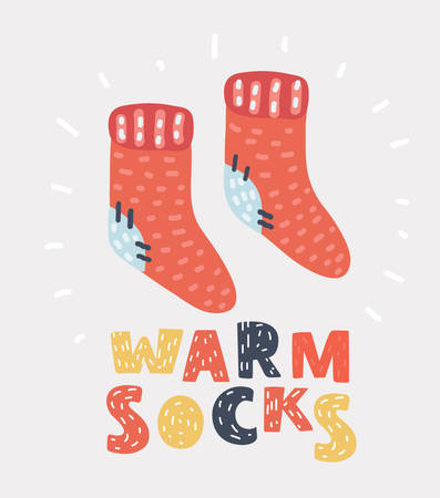 Vector cartoon illustation of Red knit wool socks. Funny winter concept on white background. Hand drawn symbol of winter season and holidays.