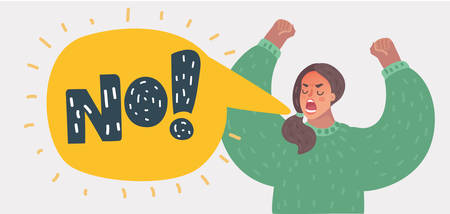 Angry woman rising hands and screaming. Girl is shouting. Speech bubble with text NO! Vector cartoon illustration in modern concept Illusztráció