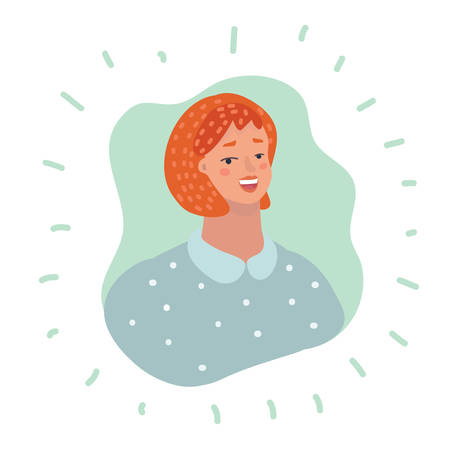 Vector Illustration of woman User Icon - Smiling redhead Person. Human character on white background.