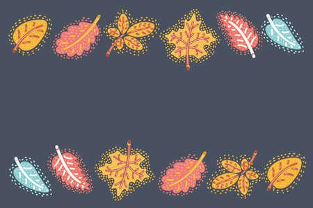 Vector cartoon illustration of Autumn leaf fall or autumnal falling leaves on dark background.