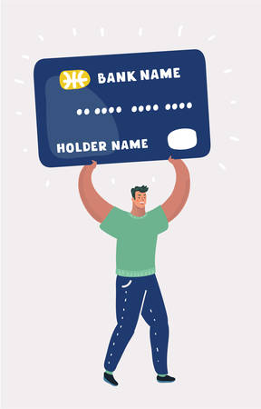 Vector cartoon illustration of Happy man carry giant big credit card. Debt concept. Human character on white isolated background.