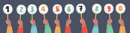 Vector cartoon funny illustration of hands holding score cards. Numbers set in different colors.