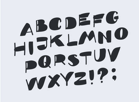 Vector cartoon illustrstion of Bold alphabet. Black letters on white background. Hand drawn funny letters.