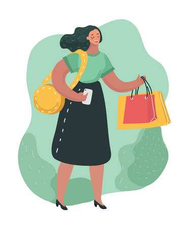 Vector cartoon illustration of Happy smiling woman shopping and buy ecological items. Concept of smart consumption, saving nature, ecology and recycling. Funny cartoon style character in modern style.