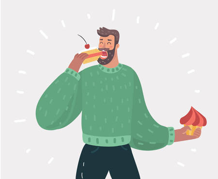 Vector cartoon illustration of man eating pie or cake. Male sweet tooth character on white bakcground.