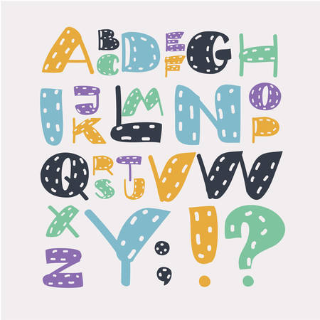 Vector cartoon funny set of Bright alphabet set. Stylish letters in different modern colors. Cartoon ABC in different size and colors on white. English typface. Latin.