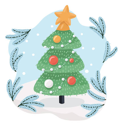 Vectro cartoon illustration f Christmas tree outdoor. Snowy weather background. Happy New Year. Greeting card.