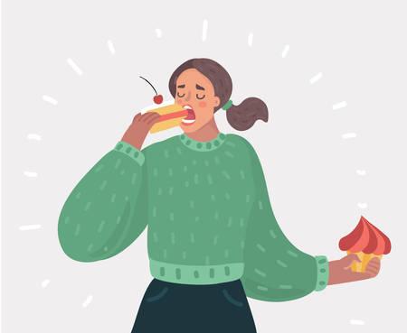 Illustration de dessin animé de vecteur de belle femme aux yeux fermés mange un gâteau. Dame proche de la gourmandise. Personnage féminin sur fond blanc.
