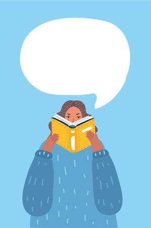 Vector cartoon illustration of Woman reading a book with speak bubble above her. 向量圖像
